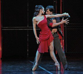 St Petersburg Ballet Theatre: Her Name Was Carmen at the London Coliseum 22/08/16 Yuri Kovalev (Garcia) and Irina Kolesnikova (Carmen)