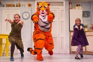THE TIGER WHO CAME TO TEA Abbey Norman plays the little girl, Sophie, Jenanne Redman, her mummy, and Matthew Dudley, the tiger, Sophie's daddy, the Milkman and the Postman. Photograph © Jane Hobson