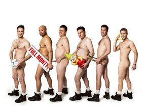 Gary Lucy, Louis Emerick, Kai Owen, Andrew Dunn, Anthony Lewis and Chris Fountain in THE FULL MONTY