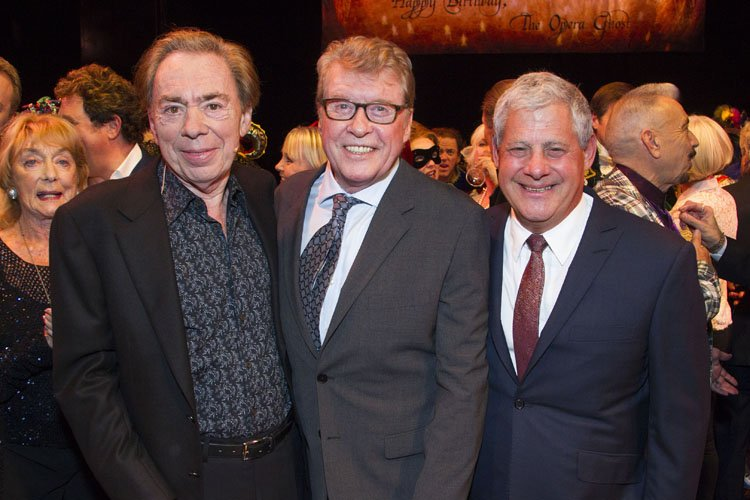 Andrew Lloyd Webber (Music), Michael Crawford and Cameron Mackintosh (Producer) backstage - Photo by Dan Wooller