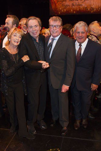 Gillian Lynne (Choreographer), Andrew Lloyd Webber (Music), Michael Crawford and Cameron Mackintosh (Producer) backstage - Photo by Dan Wooller