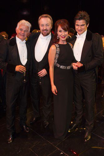 Scott Davies (The Phantom of the Opera), John Owen-Jones (The Phantom of the Opera), Sierra Boggess (Christine Daae) and Gardar Thor Cortes (The Phantom of the Opera) backstage - Photo by Dan Wooller