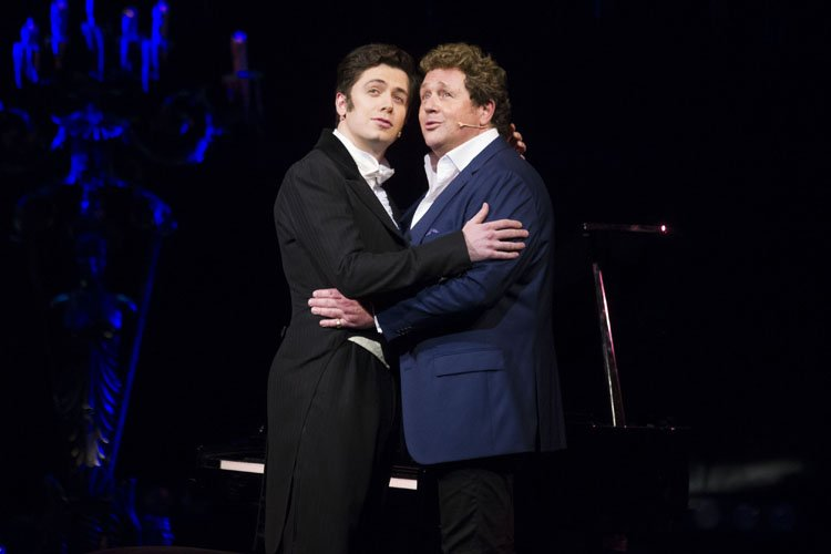 Nadim Naaman (Raoul) and Michael Ball (Raoul) during the curtain call - Photo by Dan Wooller