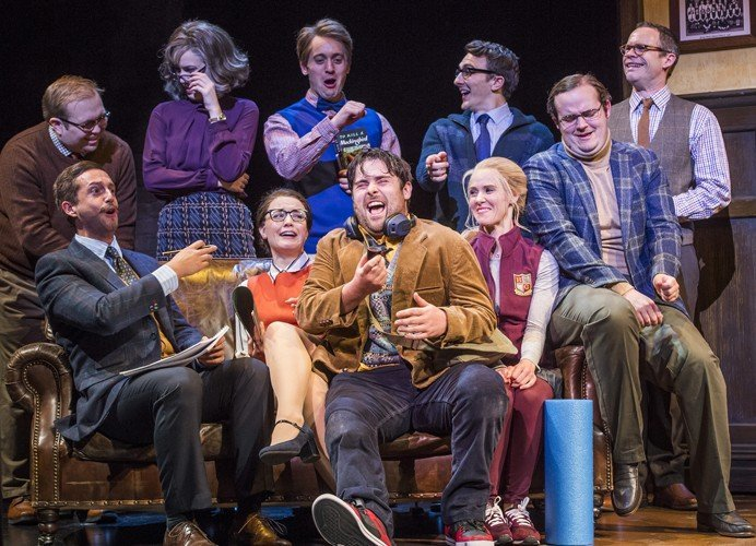 David Fynn (Dewey Finn) with cast from School of Rock photo by Tristram Kenton
