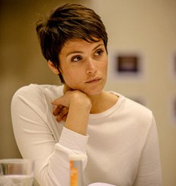 Gemma Arterton (Joan) in rehearsal for Saint Joan at the Donmar Warehouse.