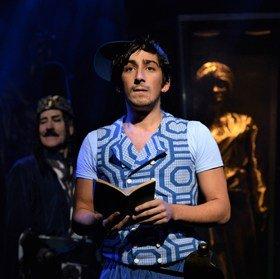 Sinbad the Sailor at Theatre Royal Stratford East Michael Bertenshaw (Prince Naw-Ze Uzz) and Julian Capolei (Sinbad)