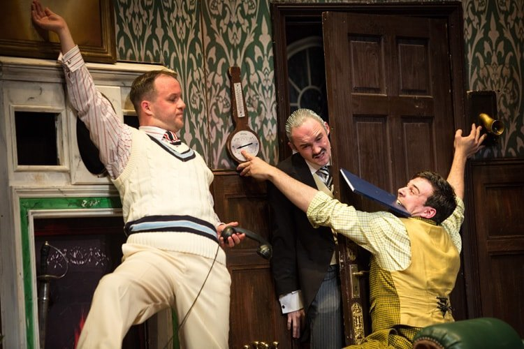 (L-R) Daniel Millar, Oliver Llewellyn-Jenkins and Adam Byron - The Play That Goes Wrong. Photo by Helen Murray
