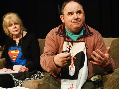 Dog Ends Rehearsals. Anita Graham (Beatrice) and Nick Wilton (George) Photo by Alistair Hilton