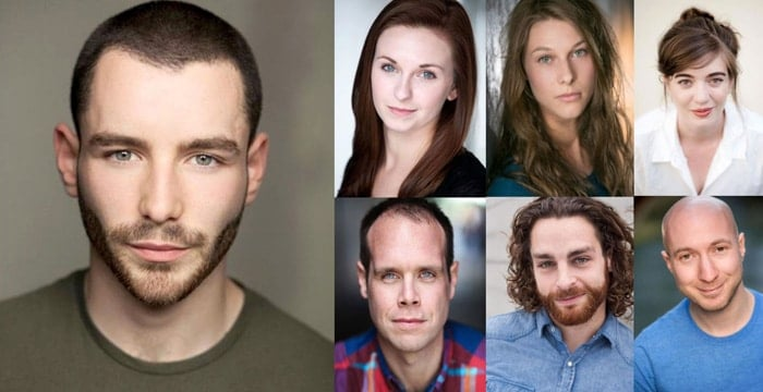 HONK! Liam Vincent-Kilbride (main photo) who will make his London stage debut as Ugly. Top (l to r) Emily Goad, Emma Jane Morton, Ellie Nunn, Bottom (l to r) Robert Pearce, Leon Scott, Sam Sugarman