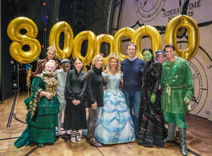 Louise and David McCarter with the cast of Wicked at the Apollo Victoria
