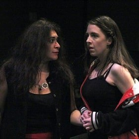 Maeve Elmore (Juliet) and Ana Miller (Nurse).