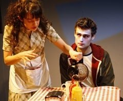 Speech and Debate. Patsy Ferran (Diwata) and Douglas Booth (Howie). Photo credit Simon Annand