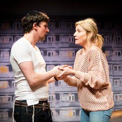 Joe Coen and Michelle Collins in A Dark Night In Dalston at Park Theatre. Photo by Helen Murray