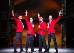 (L-R) Sam Ferriday, Matt Corner, Stephen Webb and Lewis Griffiths in JERSEY BOYS UK and Ireland tour 2015 credit Helen Maybanks