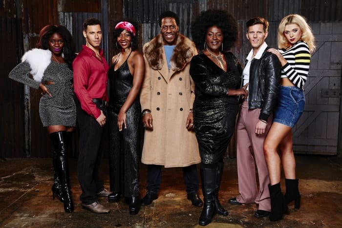 L-R Aisha Jawando (Carmen), David Albury (Fleetwood), T'Shan Williams (Queen), Cornell S. John (Memphis), Sharon D. Clarke (Sonja), John Addison (JoJo) and Charlotte Reavey (April) - The Life - Photo by Simon Turtle
