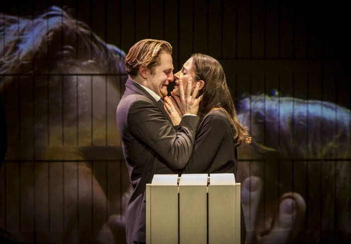 Cheek By Jowl - The Winter's Tale. Orlando James (Leontes) Natalie Radmall-Quirke (Hermione and Dorcas) Photo Credit Johan Persson