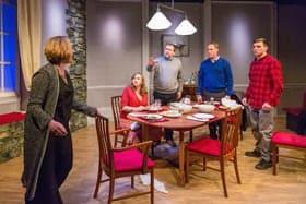 L-R Lucy Robinson (Debora), Lisa Stevenson (Tamara), Alex Lowe (Bill), Todd Boyce (Michael) & David Leopold (Curtis) - Late Company - Finborough Theatre