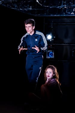 Boundless at Southwark Playhouse. Fionn Whitehead and Ella Purnell. Photo credit Richard Davenport