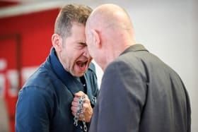 Greg Hicks and cast rehearsing Richard III at Arcola Theatre - Photo by Alex Brenner