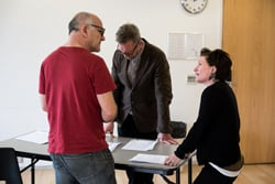 Director/Writer Stephen Unwin in rehearsal with Lucy Speed as Martha and Colin Tierney as Doctor Victor Franz Photo credit is Savannah Photographic