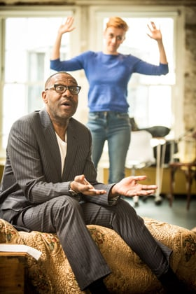 Lenny Henry (Arturo Ui) and Lucy Ellinson (Giri) in rehearsal for The Resistible Rise of Arturo Ui at the Donmar Warehouse. Photo credit Jack Sain