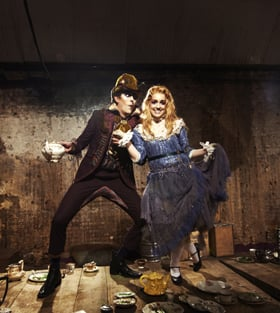 ADVENTURES IN WONDERLAND. Philip Bosworth (Hatter) and Josephine Rattigan (Alice).
