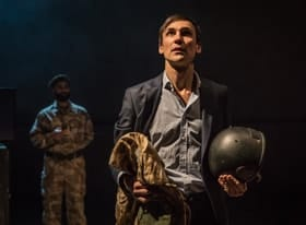 Henry Lloyd-Hughes (Rory Stewart) in Occupational Hazards at Hampstead Theatre. Photo by Marc Brenner