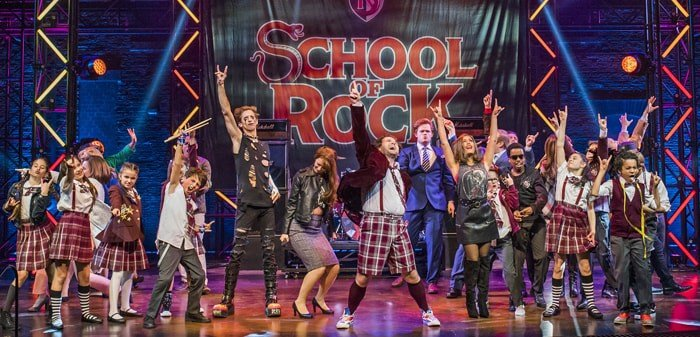 The Cast of School of Rock with Gary Trainor (centre) photo by Tristram Kenton