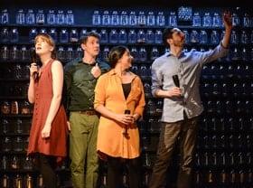 Nicola Kavanagh (Melanie), Karl Davies (Sam), Natalie Dew (Rachel), Ben Addis (Ben). Deposit at Hampstead Theatre.