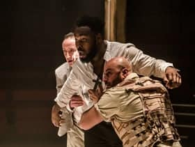 Abraham Popoola Othello, Ghazwan Alsafadi Montano and Christopher Bianchi Duke of Venice Gratiano Othello