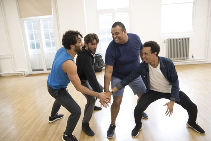 Aladdin, Prince Edward Theatre - Matthew Croke (Aladdin), Daniel de Bourg (Kassim), Leon Craig (Babkak) & Miles Barrow (Omar) Photographer Johan Persson.