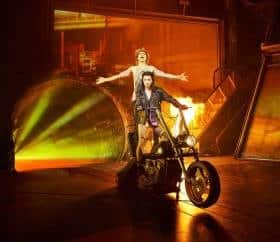 Andrew Polec as Strat & Christina Bennington as Raven in BAT OUT OF HELL credit Specular