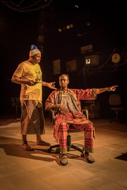 Patrice Naiambana (Tokunbo) and Peter Bankolé (Olawale) in Barber Shop Chronicles at the National Theatre (c) Marc Brenner