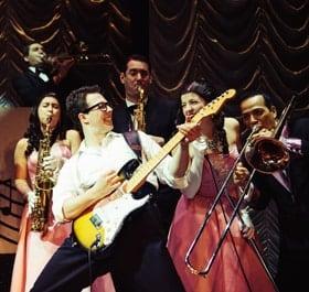 L-R Tom Sowinski Celia Cruwys-Finnigan, Alex Fobbester (Buddy Holly) Alex Tosh, Kerry Low, Miguel Angel