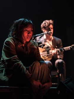 Jade Anouka (Sarah) and Charlie Fink (Frank) in Cover My Tracks at The Old Vic.