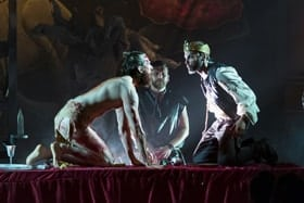 MACBETH Nick Howard-Brown (Banquo), Matt Stubbs (Macduff) and David Hywel Baynes (Macbeth) Photo Nick Rutter