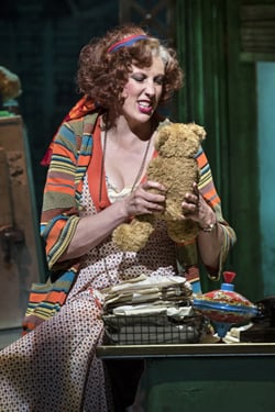 Miranda Hart (Miss Hannigan) in Annie at the Piccadilly Theatre – Photographer credit Paul Coltas