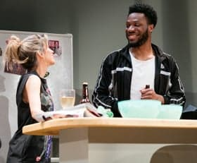 Claire Goose & Tom Moutchi in Twitstorm at Park Theatre. Photo by Darren Bell
