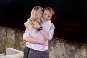 Alec Newman (Daniel) and Susan Stanley (Sally) in Alligators at Hampstead Downstairs. Photo by Robert Day