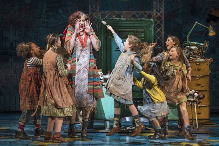 Miranda Hart (Miss Hannigan) with the Orphans in Annie at the Piccadilly Theatre – Photo credit Paul Coltas