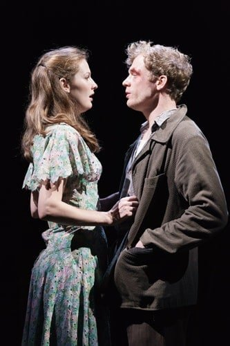 Claudia Jolly (Katherine Draper) and Sam Reid (Gene Laine) in GFTNC at The Old Vic. Photo by Manuel Harlan