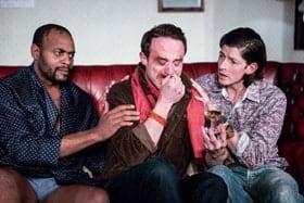 Jason Nwoga, Elliot Hadley & Lee Knight in COMING CLEAN. Credit Paul Nicholas Dyke