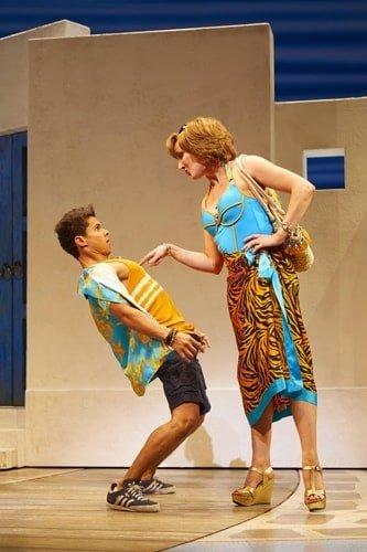 Damien Buhagiar as Pepper and Kate Graham as Tanya in MAMMA MIA! Credit Brinkhoff & Mögenburg