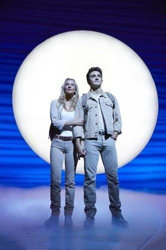 Georgina Castle as Sophie and Christopher Jordan-Marshall as Sky in MAMMA MIA! Credit Brinkhoff & Mögenburg