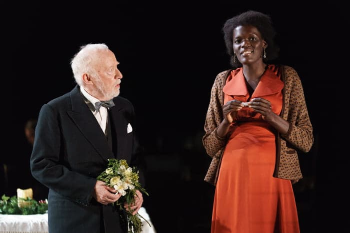 Jim Norton (Mr Perry) and Sheila Atim (Marianne Laine) in of GFTNC at The Old Vic. Photo by Manual Harlan