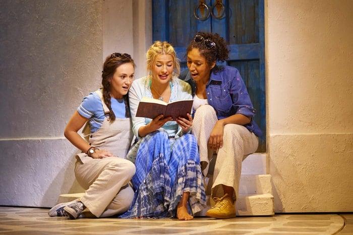 LtoR Harriet Bunton as Lisa, Georgina Castle as Sophie and Bobbie Little as Ali in MAMMA MIA! Credit Brinkhoff & Mögenburg