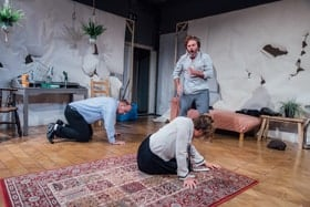 Alex Ferns, David Schaal & Karen Ascoe in Rabbits at Park Theatre. Photo by David Monteith-Hodge