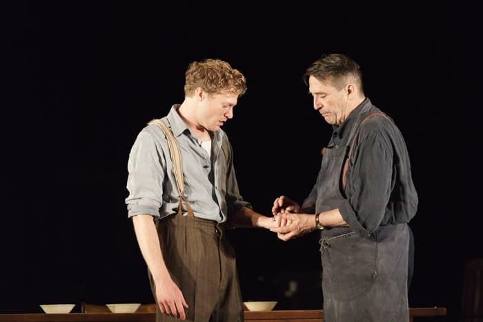 Sam Reid (Gene Laine) and Ciaran Hinds (Nick Laine) in Girl from the North Country at The Old Vic. Photo by Manual Harlan