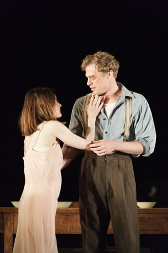 Shirley Henderson (Elizabeth Laine) and Sam Reid (Gene Laine) in Girl from the North Country at The Old Vic - Photo by Manual Harlan