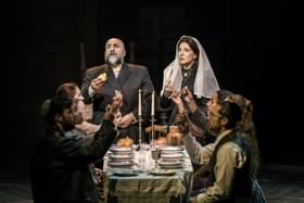 Fiddler on the Roof Omid Djalili, Tracy-Ann Oberman and company. Pic by Johan Persson
